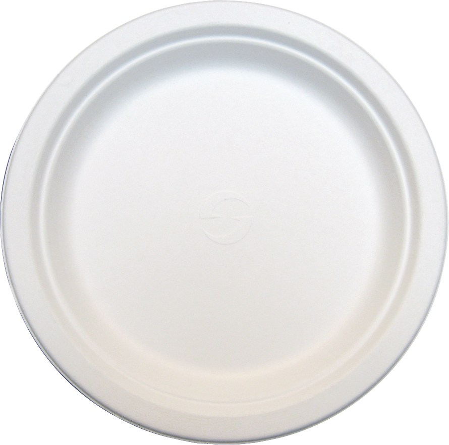 "Green Wave Intl. - Evolution White 7"" Round Bagasse Plate TW-POO-009"