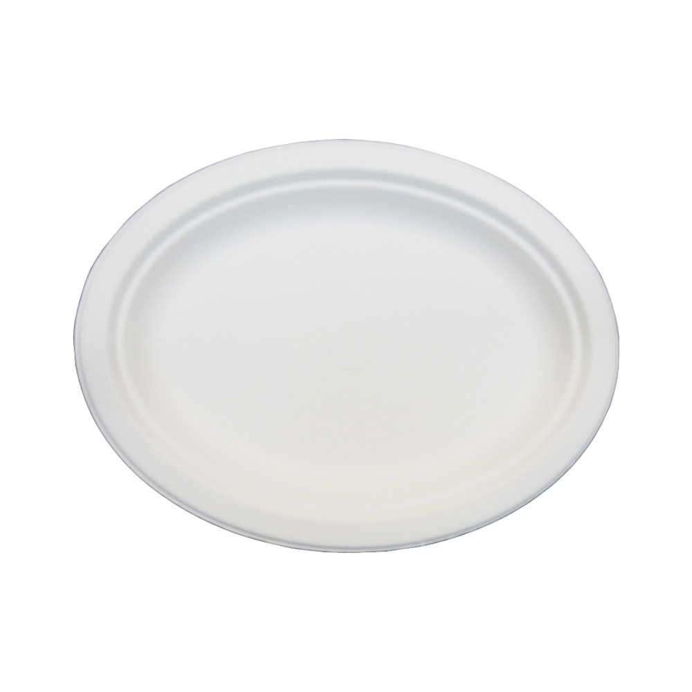 "Green Wave Intl. - Evolution White 10""x12.5"" Oval Bagasse Plate TW-POO-012"