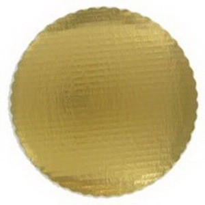 "Vineland Packaging Gold 9"" Laminated Corrugated Single Wall Scalloped Cake Circle 16572"