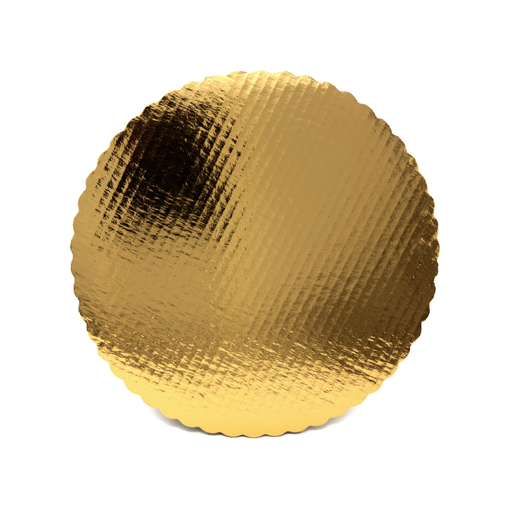 "Vineland Packaging Gold 10"" Laminated Corrugated Single Wall Scalloped Cake Circle 16573"