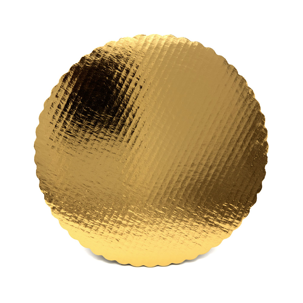 "Vineland Packaging Gold 12"" Laminated Corrugated Single Wall Scalloped Cake Circle 16574"