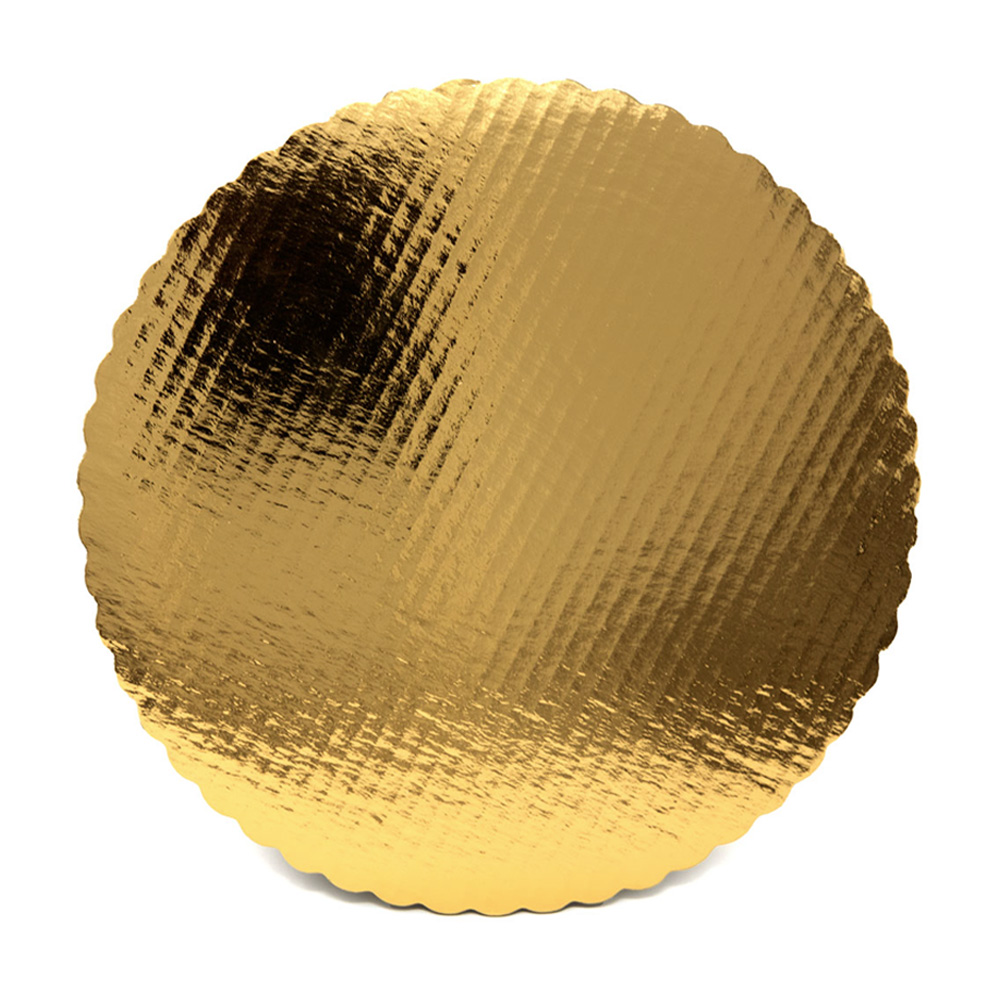 "Vineland Packaging Gold 14"" Laminated Corrugated Single Wall Scalloped Cake Circle 16575"