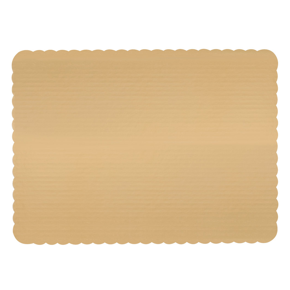 "Vineland Packaging Corp. - Gold 17.75""x13.75"" 1/2 Sheet Laminated Corrugated Cake Board 16584"