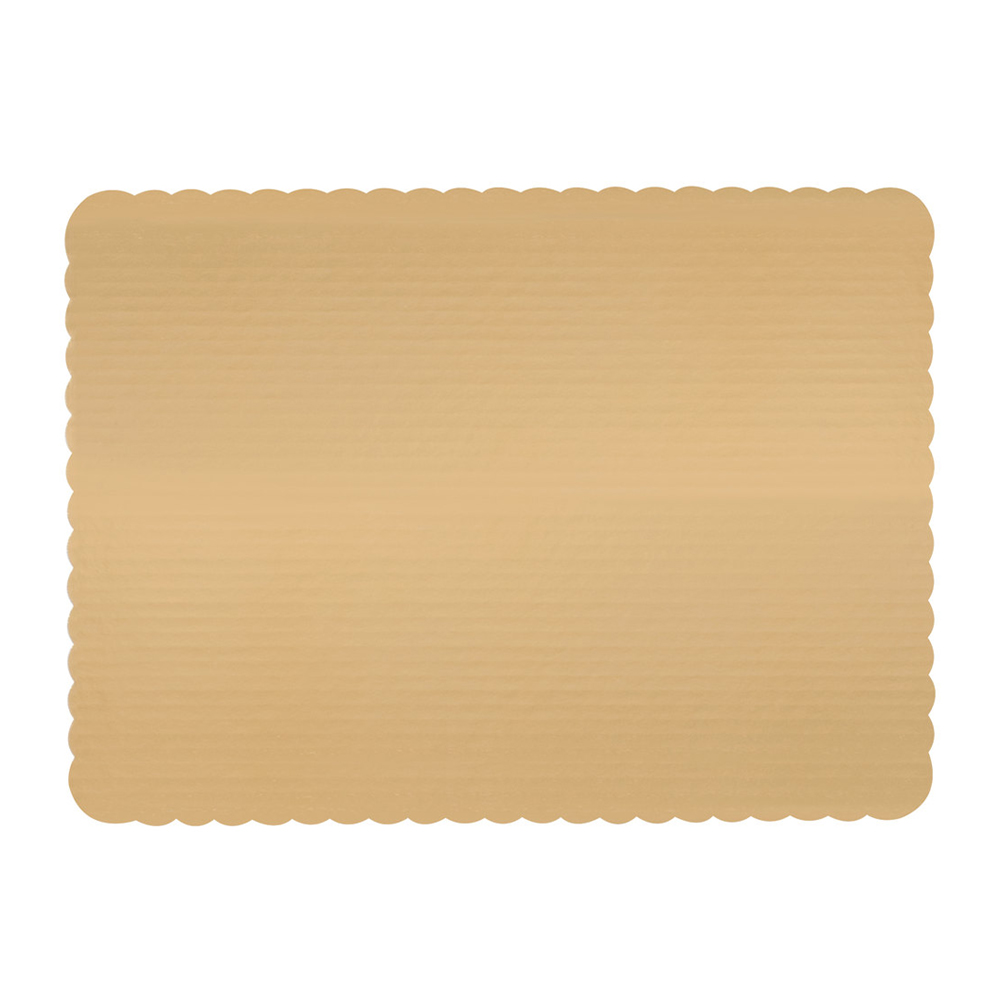 "Vineland Packaging Corp. - Gold 13.75""x9.75"" 1/4 Sheet Laminated Corrugated Cake Board 16585"