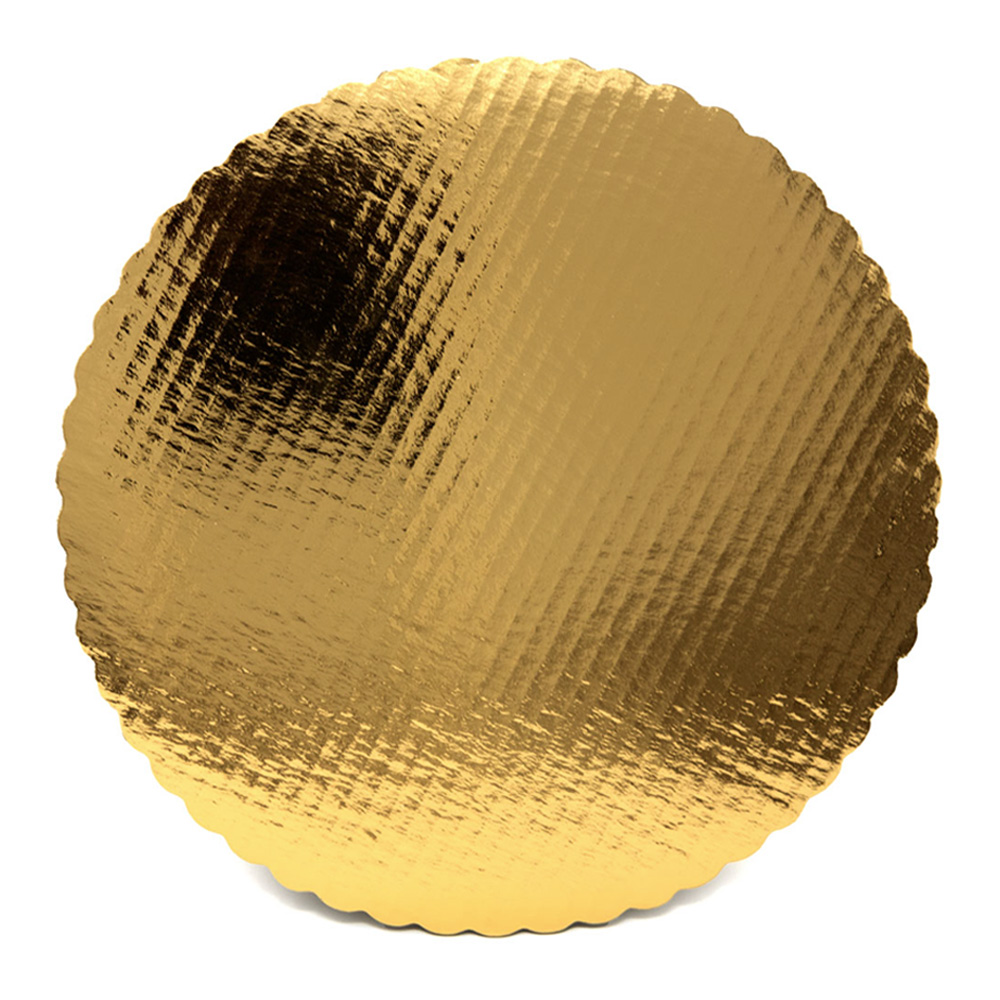 "Vineland Packaging Corp. - Gold 16"" Laminated Corrugated Double Wall Scalloped Cake Circle 1823"