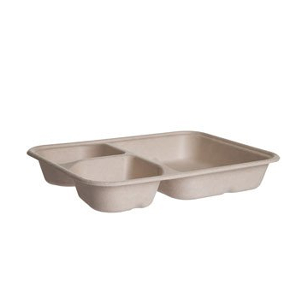 "Eco Products - WorldView Beige 6""x8"" 3 Compartment Compostable Tray EP-SCR863B"