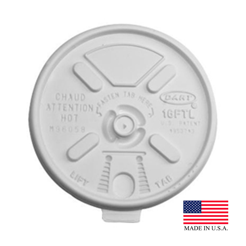 Dart - Lift n' Lock White 16 oz. Plastic Tear Back Flat Lid 16FTL