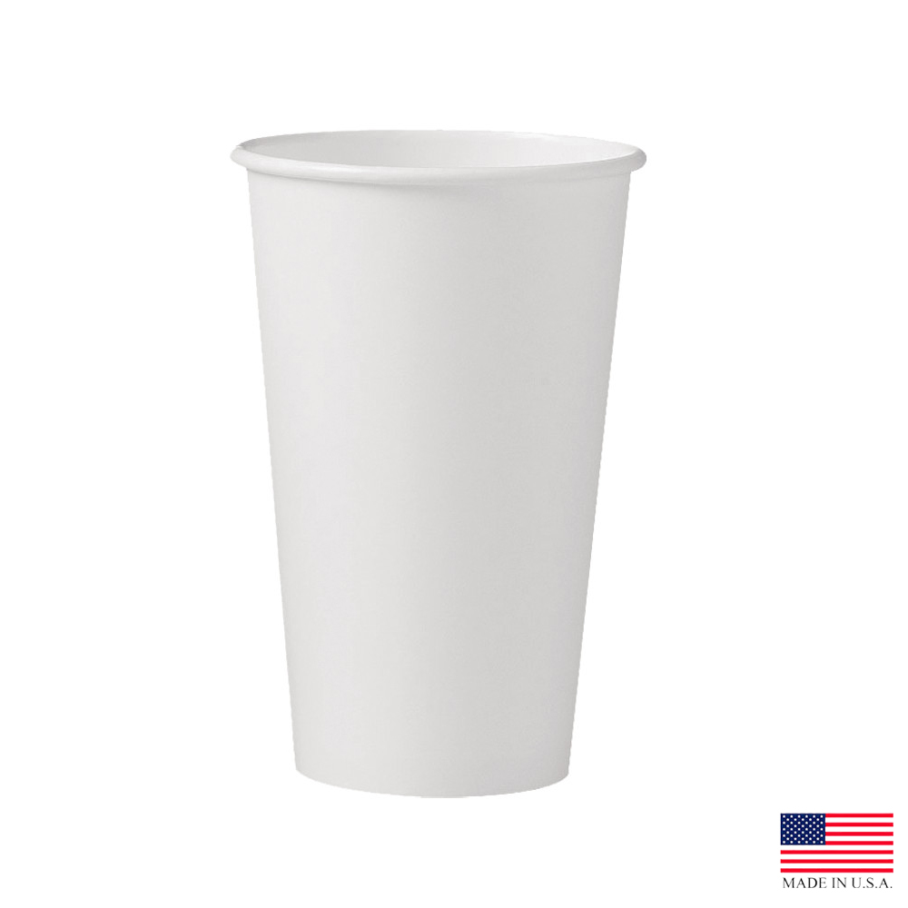 Solo Cup Co. - White 16 oz. Single Poly Paper Hot Cup 316W-2050