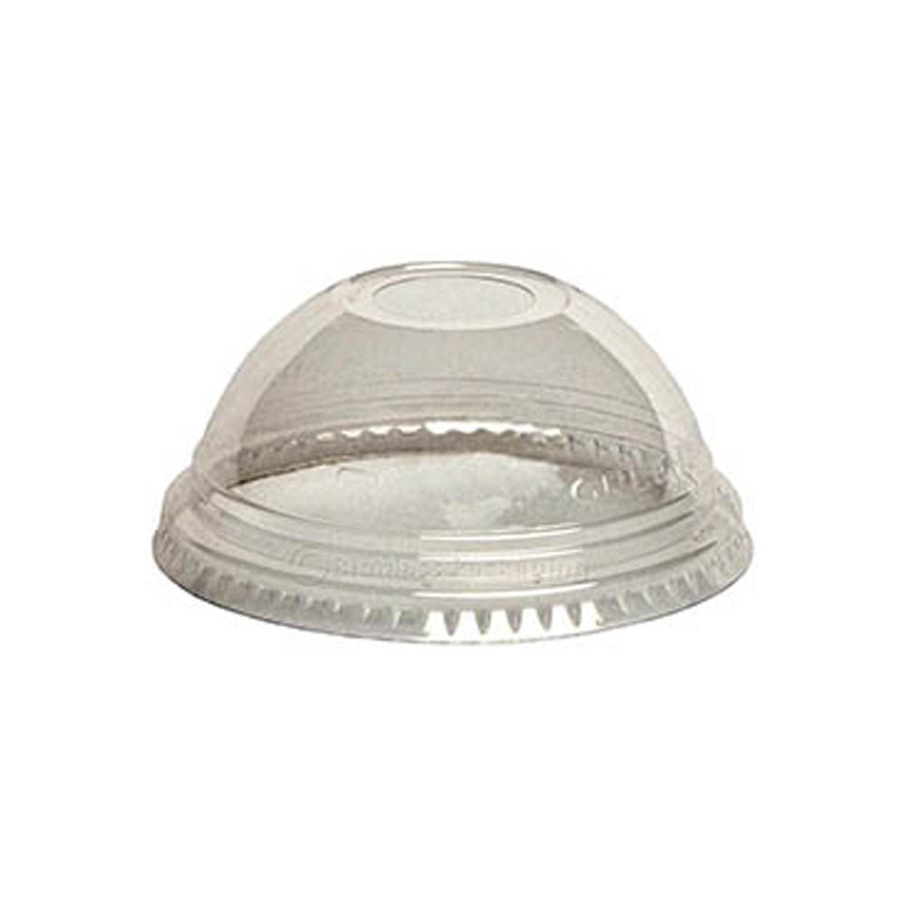 "Fabrikal Clear 16/24oz Greenware Dome Lid With 1"" Hole DLGC1624H/9509122"