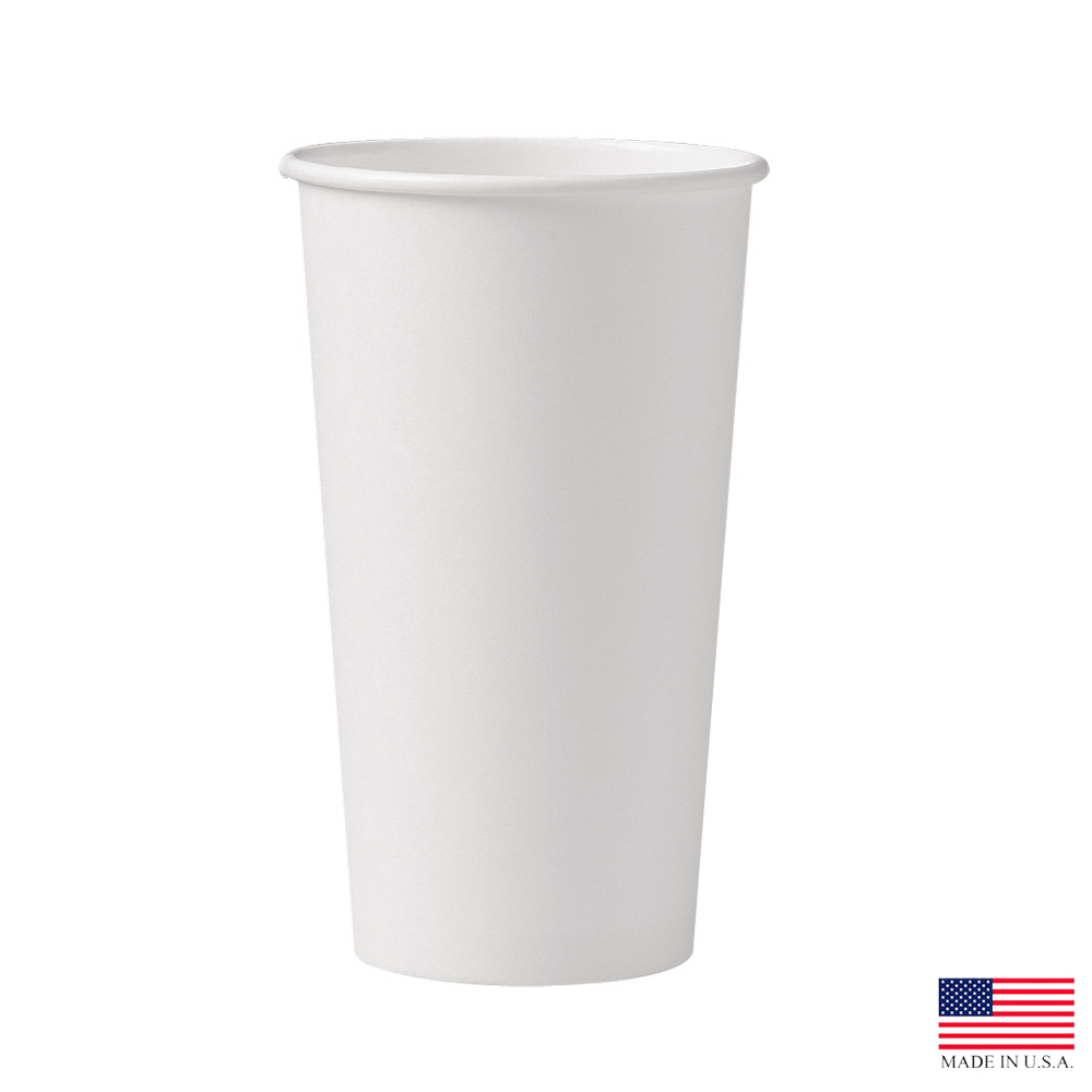 Solo Cup Co. - White 20 oz. Single Poly Paper Hot Cup 420W-2050