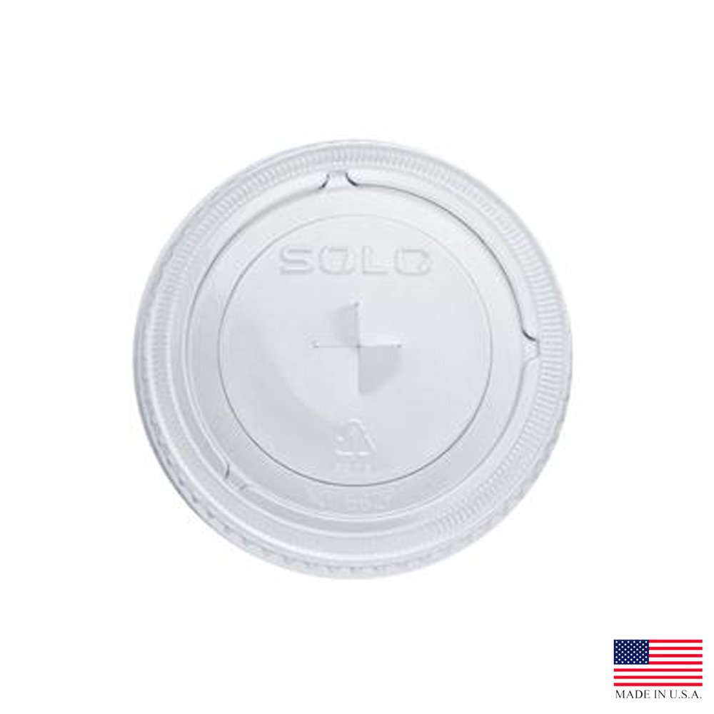 Solo Cup Clear 12oz Plastic Straw Slot Lid 662TS