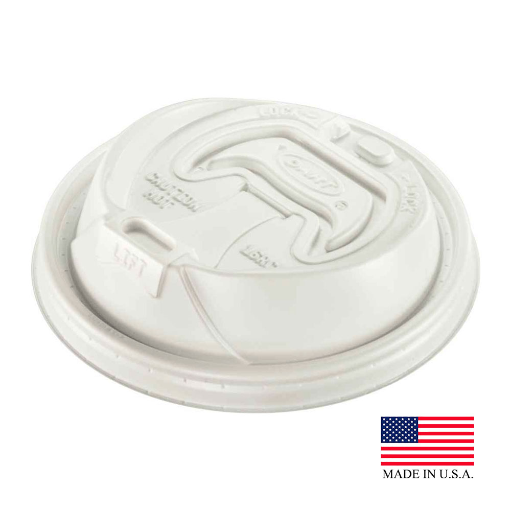 Dart - Optima White 12-24 oz. Round Plastic Travel Lid With Re-closable Tab 16RCL