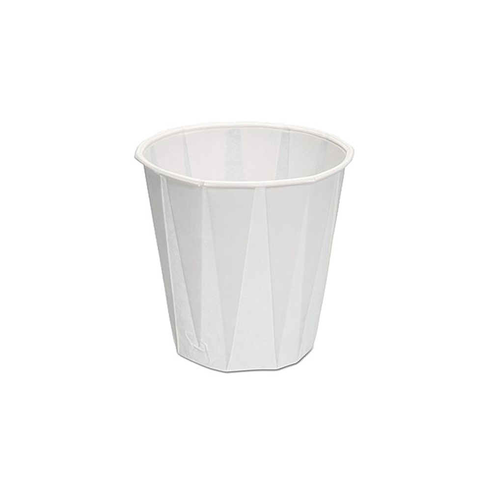 GenPack White 5oz Pleated Paper Water Cup W500F