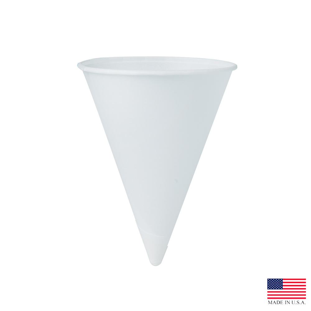 Solo White 4oz Rolled Rim Paper Cone Water Cup 4R-2050