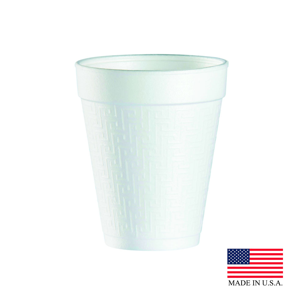 Dart - J Cup White 10 oz. Greek Key Insulated FoamCup 10KY10