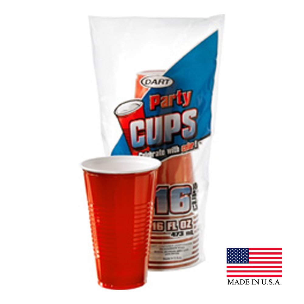 Dart Red 16oz Plastic Party Cup 16TNER16PF