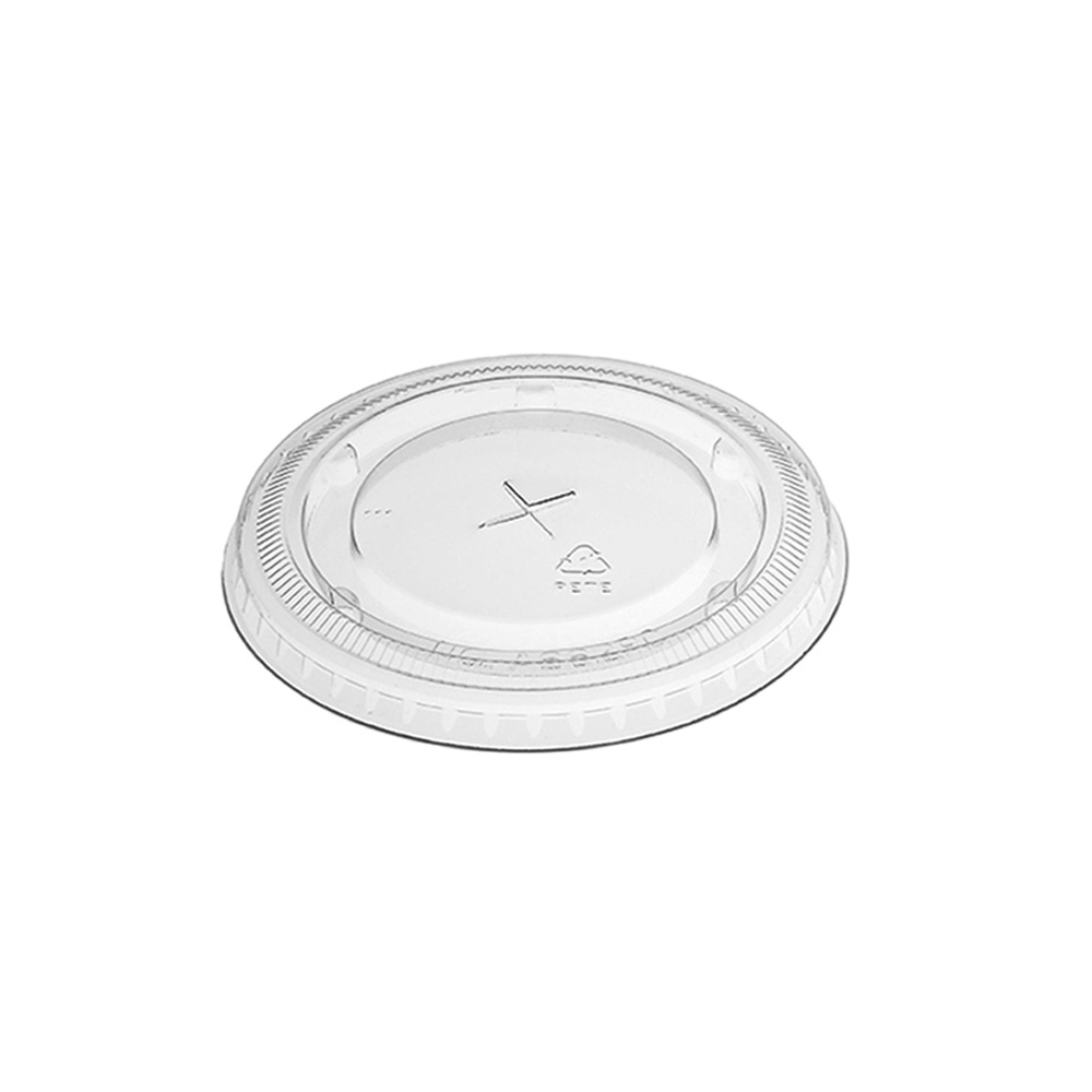 Amhil Clear 9/12/20oz Plastic Straw Slot Flat Lid A662PC