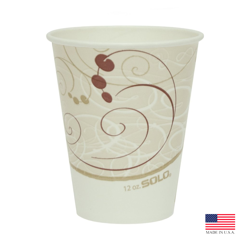 Solo Cup Printed 12oz Symphony Squat Poly Paper Cold Cup RP12SP-J8000