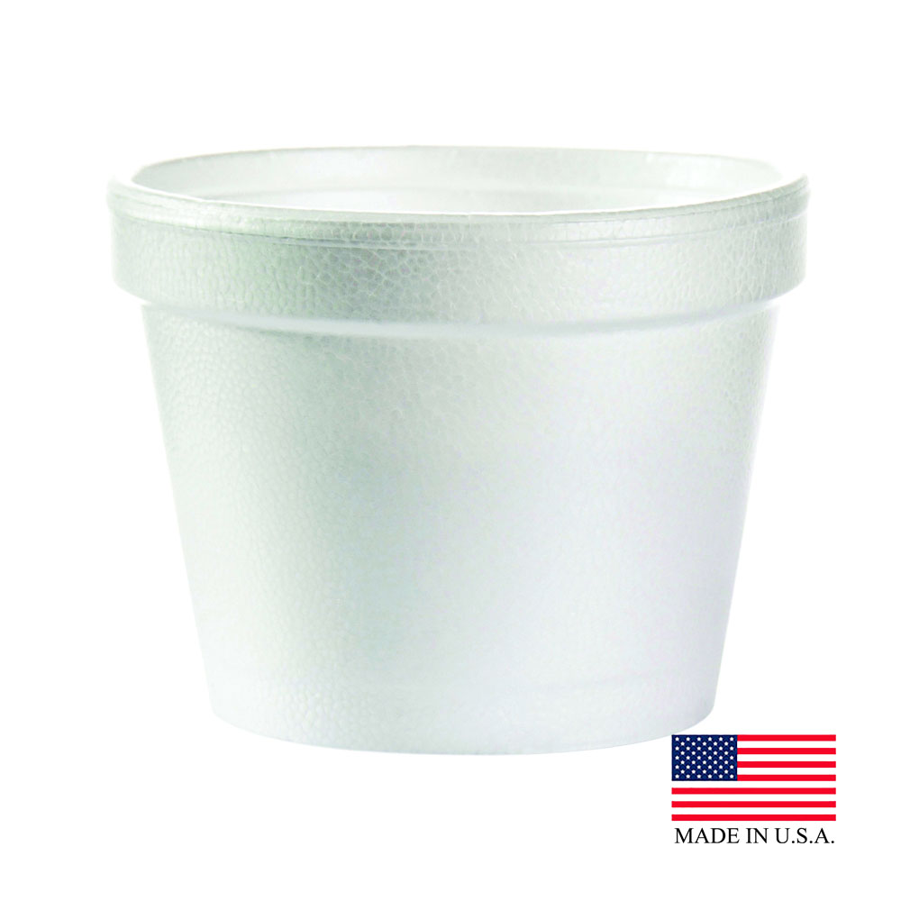 Dart White 4oz Squat Foam Container 4J6