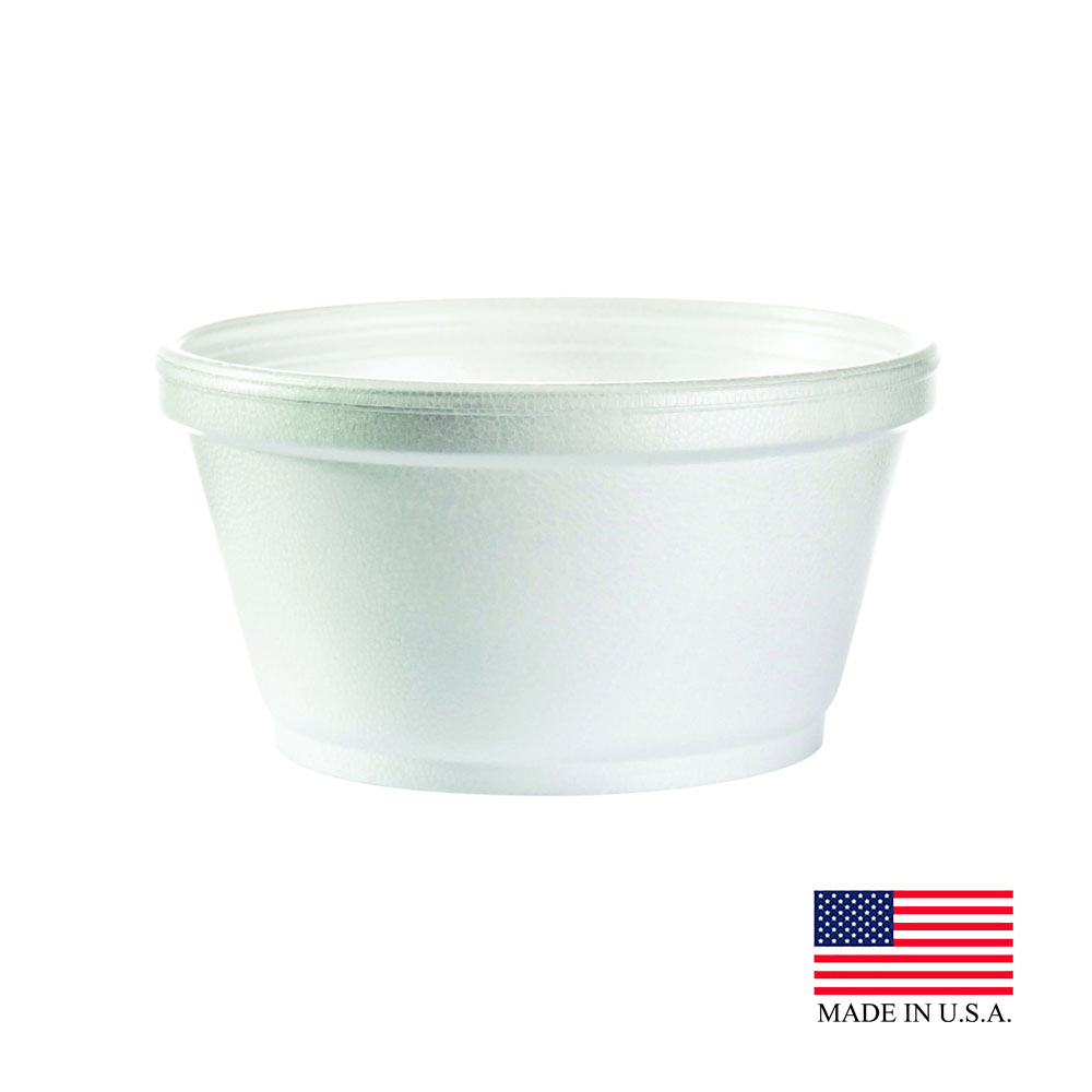 Dart White 8oz Executive Squat Foam Container 8SJ20