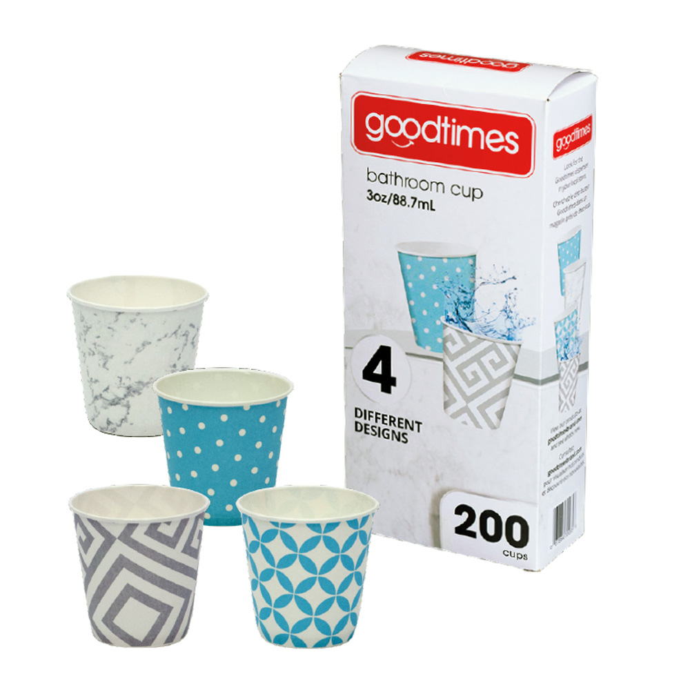 Goodtimes Printed 200ct 3oz Paper Cup - 4 Designs GT035