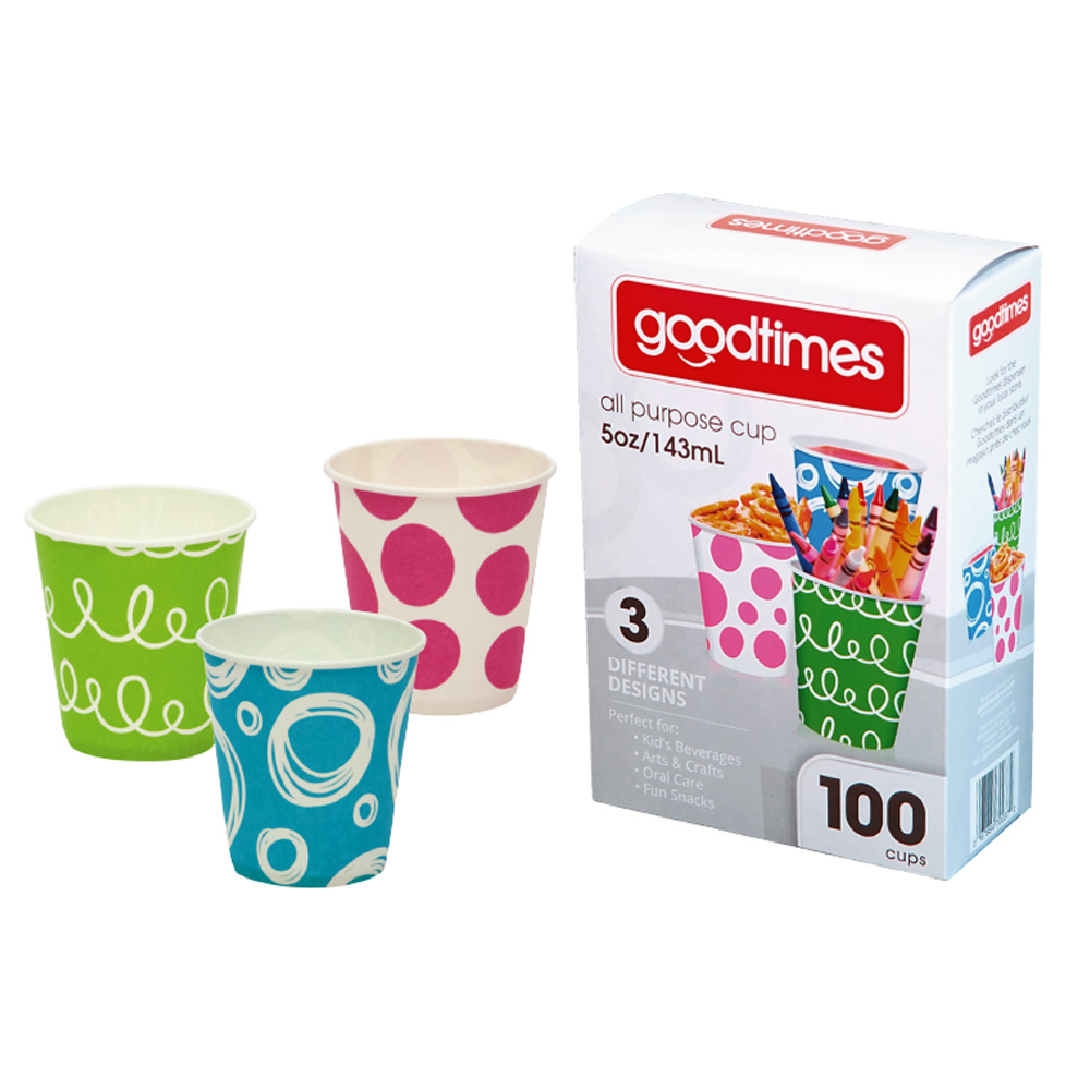 Goodtimes 100ct 5oz Paper Cup - 3 Designs GT037