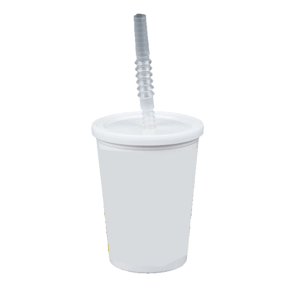 Comet White 12oz Plastic Kids Cup With Lid & Straw VK3W