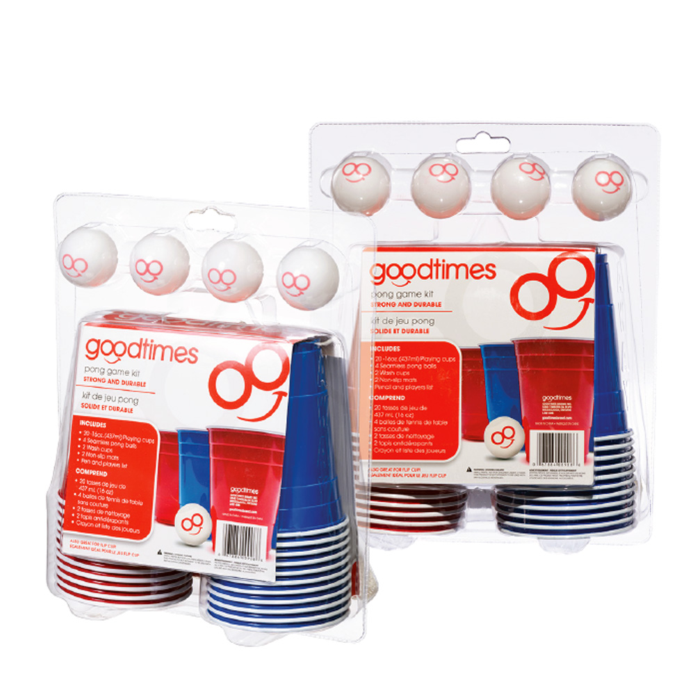 Goodtimes Blue & Red Beer Pong Kit (20 16oz Playing Cups, 4 Pong Balls, 2 Wash Cups, 2 Non-Slip