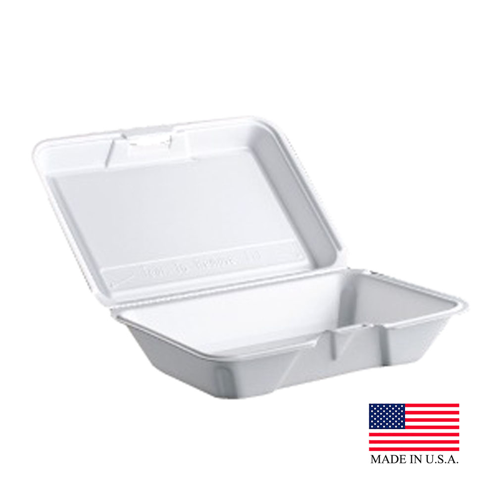 "Dart - Performer White 9 1/4""x6 3/8""x2 9/16"" Single Insulated Rectangular Foam Hinged Container"