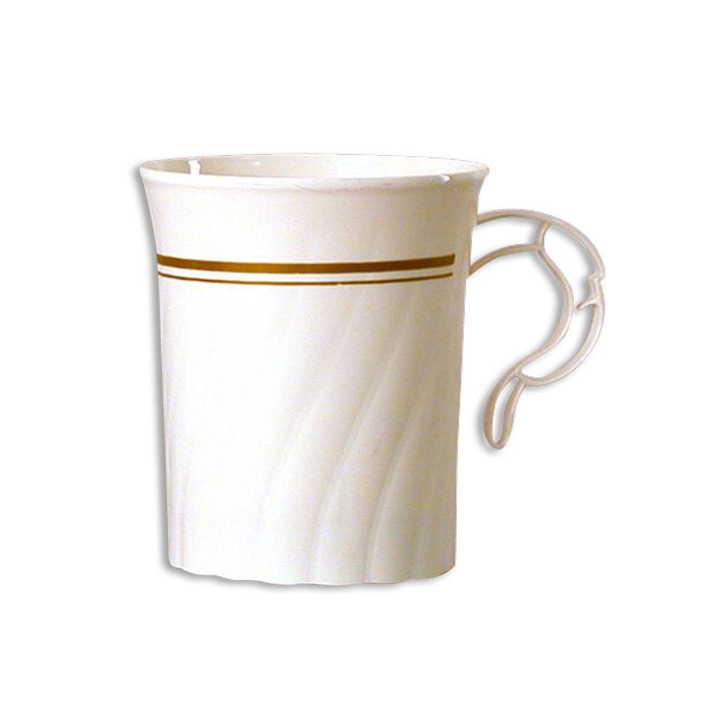 WNA/Comet - Classicware Ivory 8 oz. Plastic Coffee Mug With Gold Trim CWM8192IPREM