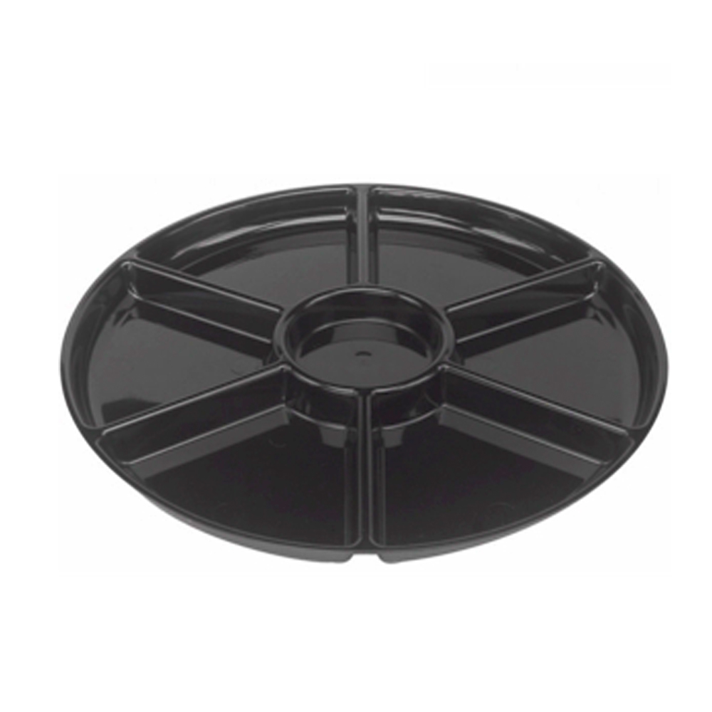 "Easypak/Douglas Stephen - Stakmate Black 12"" Round Plastic 6 Compartment Tray STAK26RB"