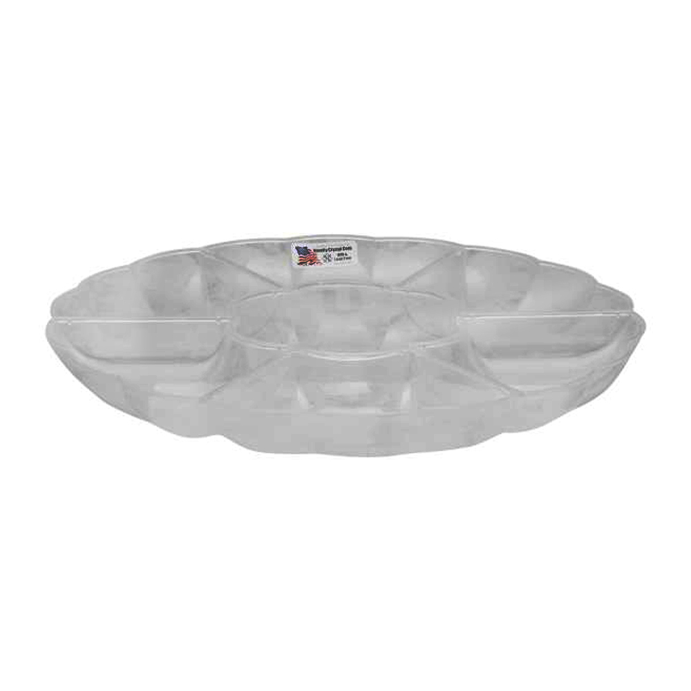 "Novelty Crystal Clear 16"" 7 Compartment Scalloped Tray 292"