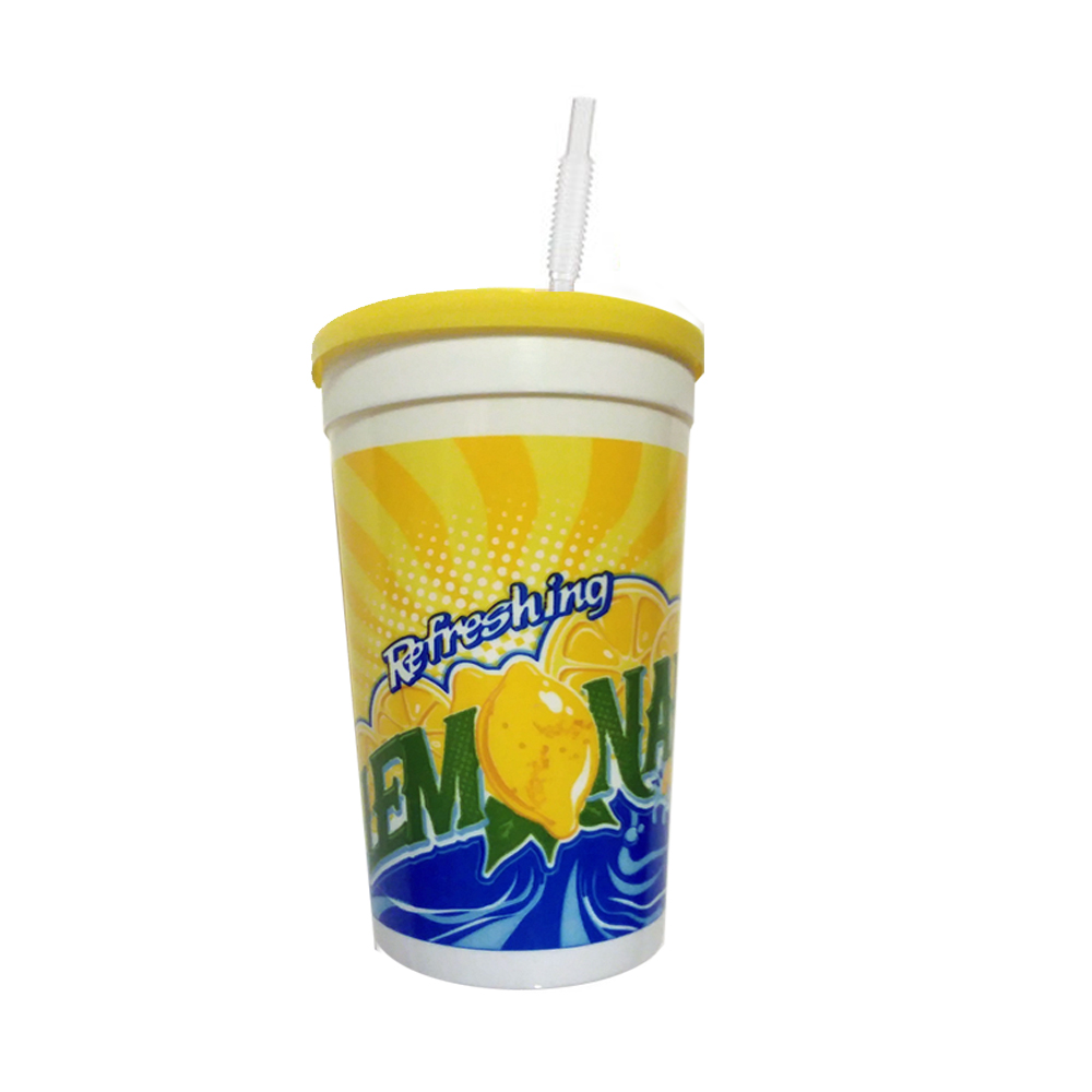 WNA/Comet - Printed 16 oz. Plastic Lemonade Cup With Straw & Lid TR116TLEM