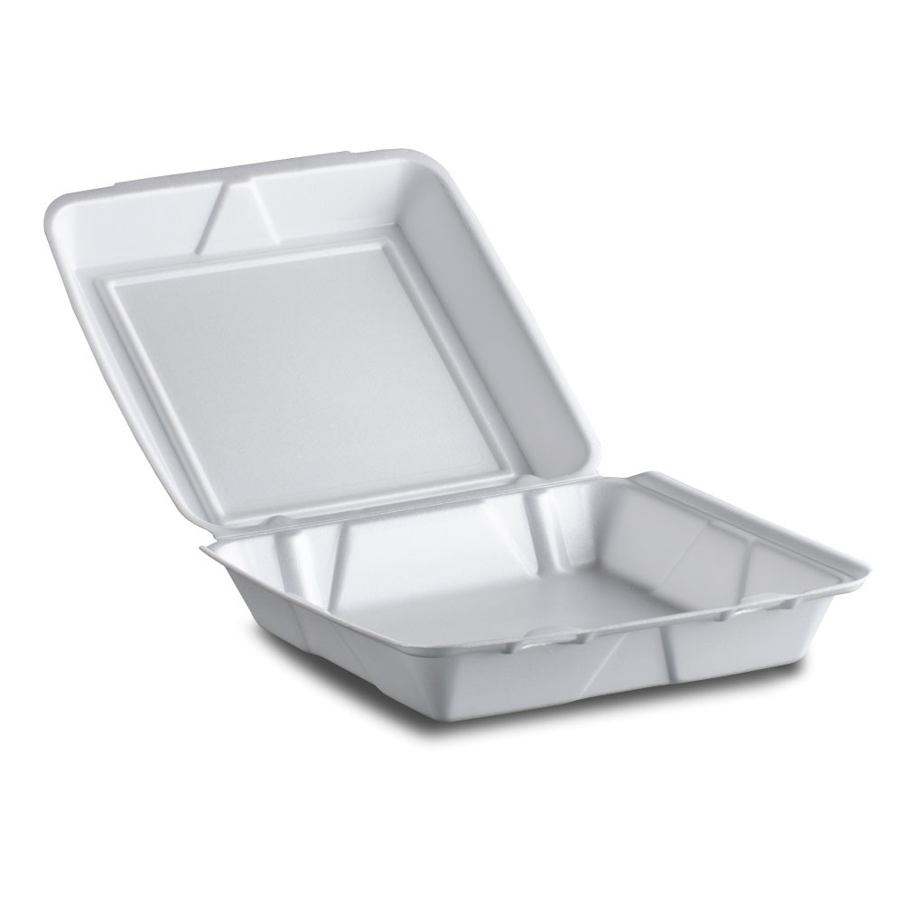 Dart White Large Hinged Foam Container 95HT1R