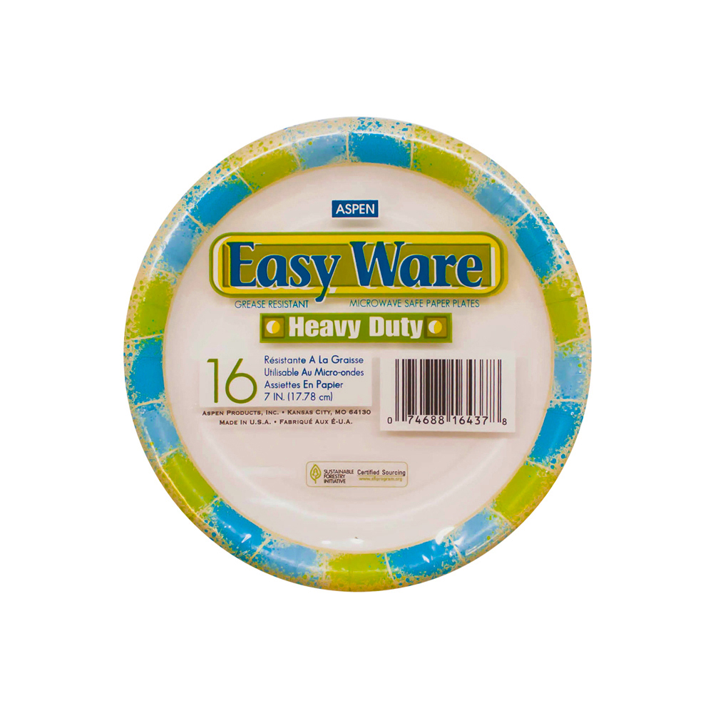 "Aspen Products - Easy Ware Design 7"" Coated Paper Plate 16167-4"