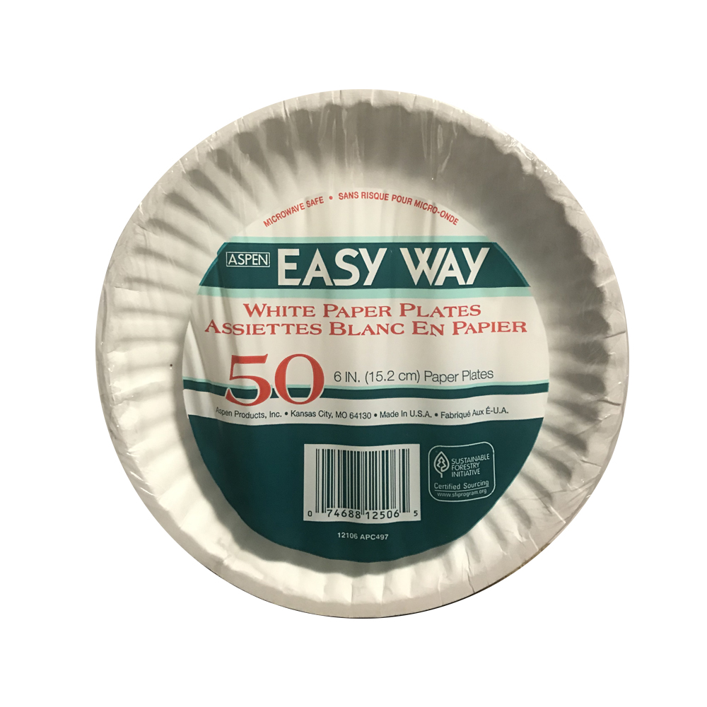 "Aspen Products - Easy Way White 9"" Uncoated Paper Plate 24040"