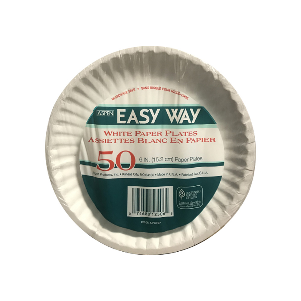 "Aspen Products - Easy Way White 6"" Uncoated Paper Plate 12506"