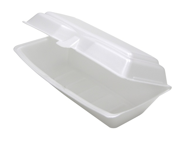 "Pactiv - White 13"" Rectangular Foam Hinged Hoagie Container 0TH1X267000Y"