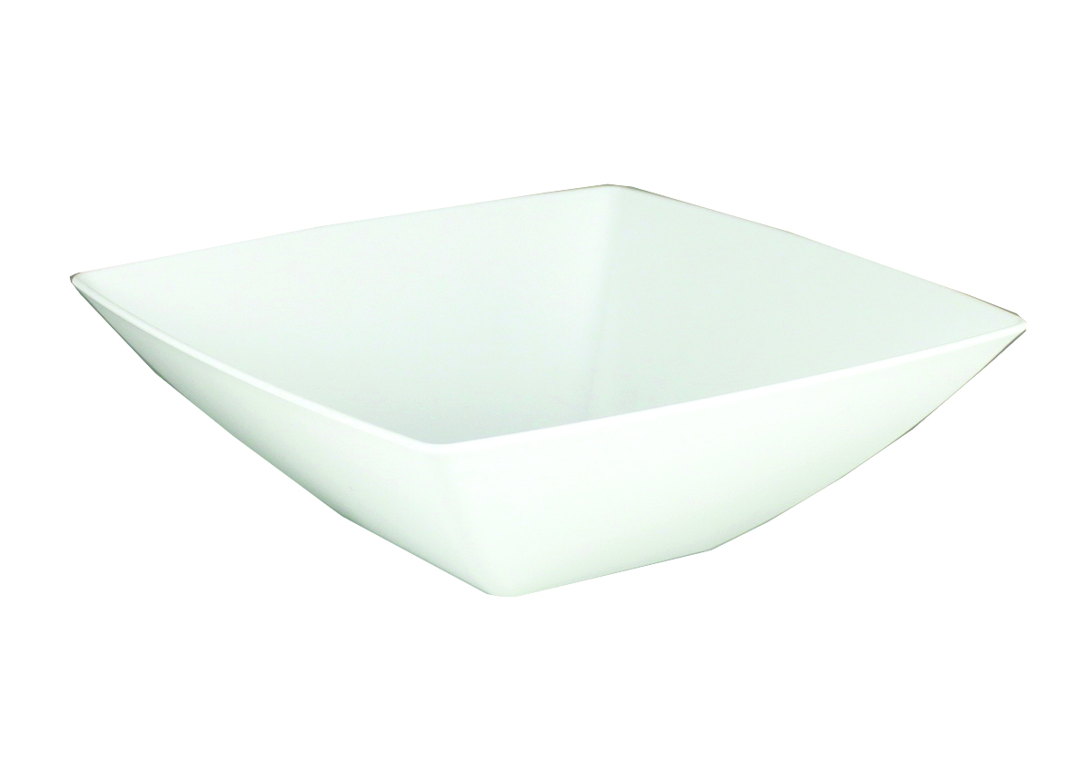 Maryland Plastics Inc. - Simply Squared White 32 oz. Plastic Presentation Bowl SQ80320