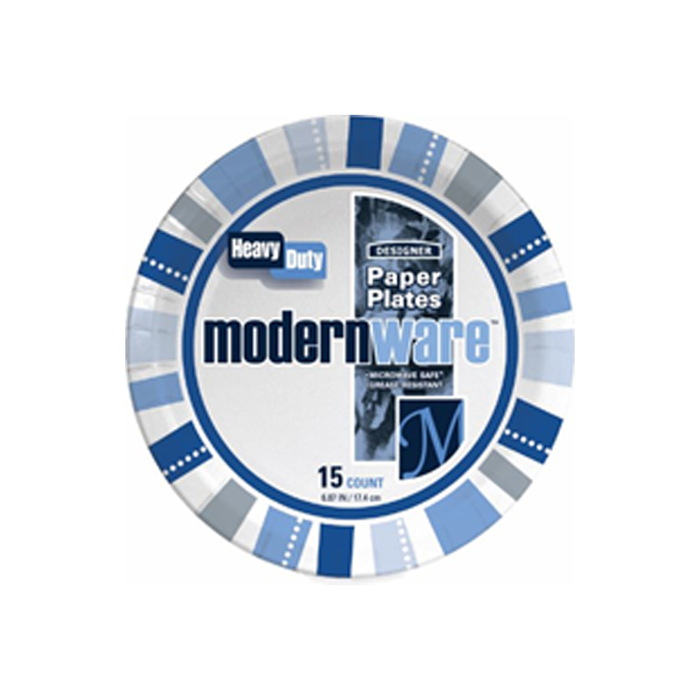 "AJM Packaging - Modern Ware 7"" 15 Count Heavy DutyPrinted Designer Coated Paper Plate 7MW032015"