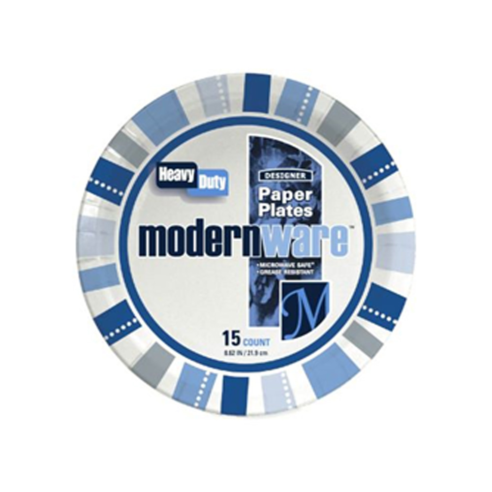 "AJM Packaging - Modern Ware 9"" 15 Count Heavy Duty Printed Designer Coated Paper Plate 9MW03201"