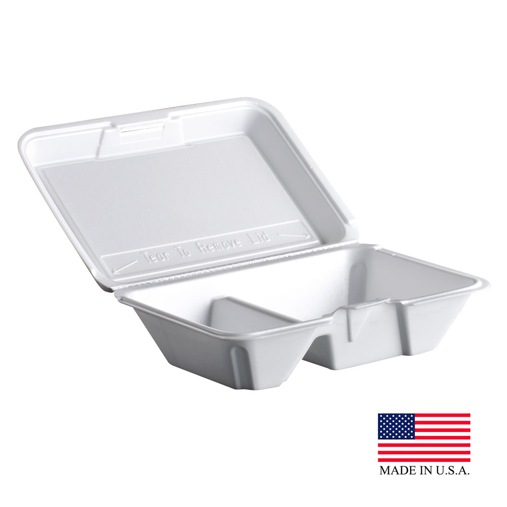 Dart White 2 Compartment All Purpose Foam Hinge Container With Removable Lid 205HT2