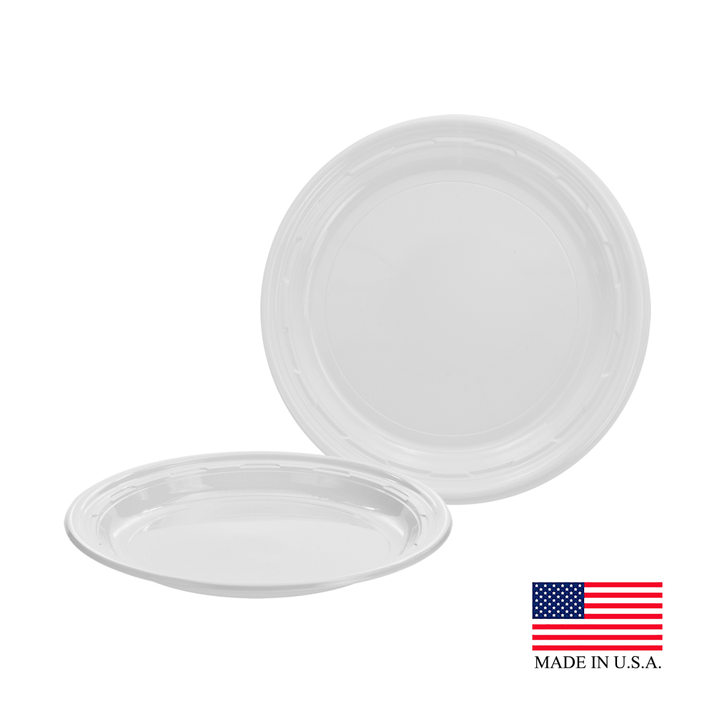 "Dart - Famous Service White 7"" Impact Round Plastic Plate 7PWF"
