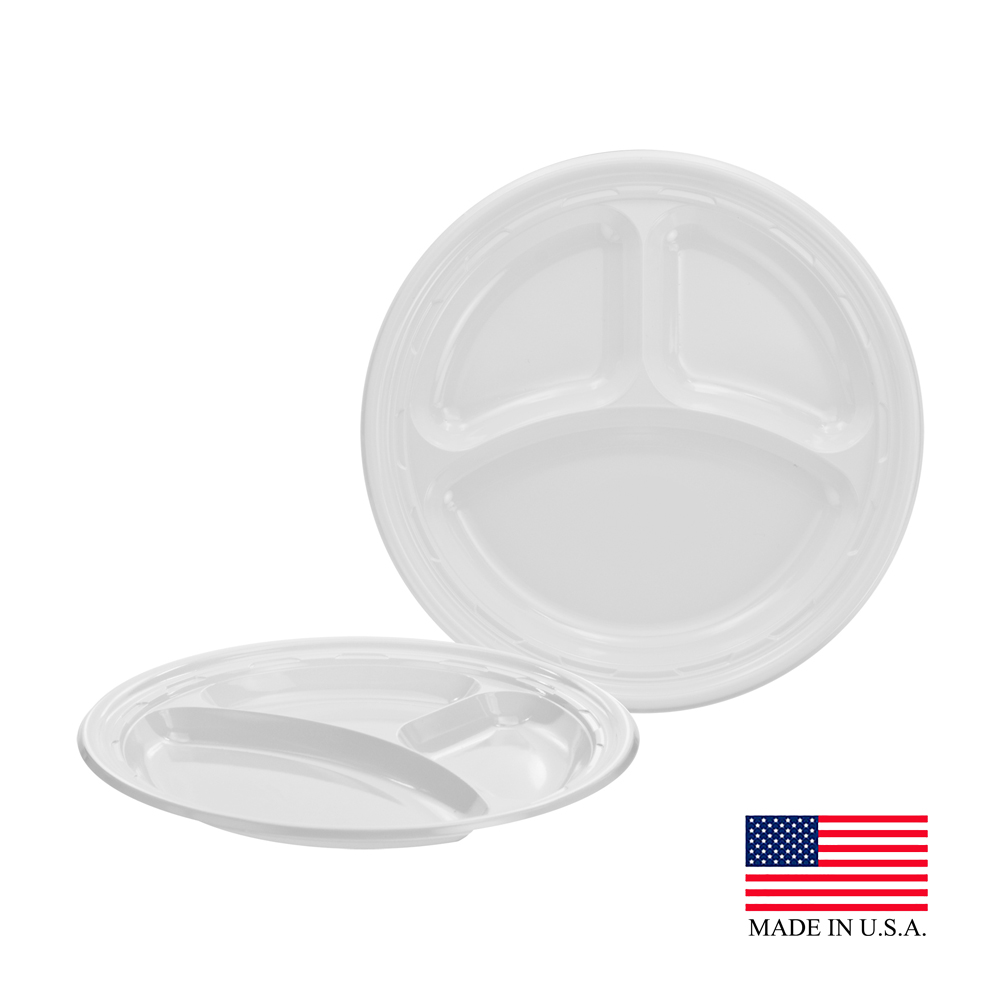 "Dart White 9"" 3 Compartment Plastic Impact Plate 9CPWF"
