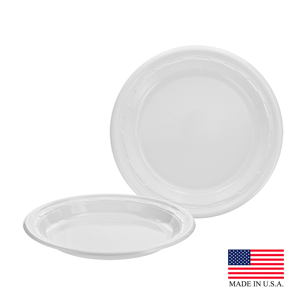 "Dart - Famous Service White 10.25"" Impact Round Plastic Plate 10PWF"
