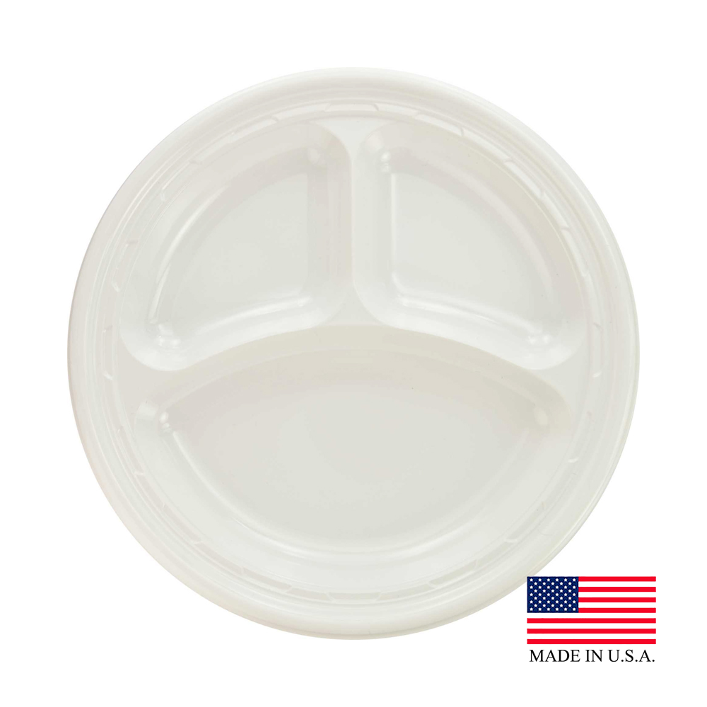 "Dart White 10.25"" 3 Compartment Impact Plastic Plate 10CPWF"