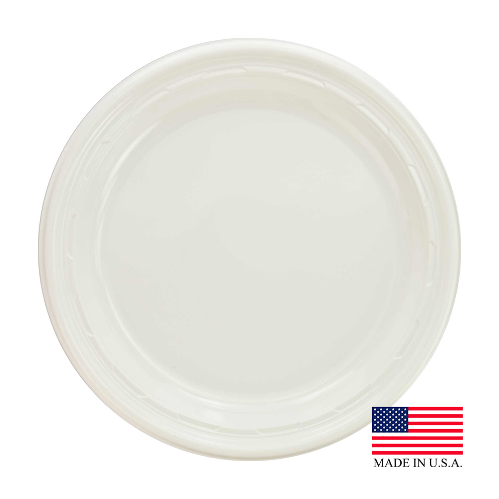 "Dart - Famous Service White 9"" Impact Round Plastic Plate 9PWF"
