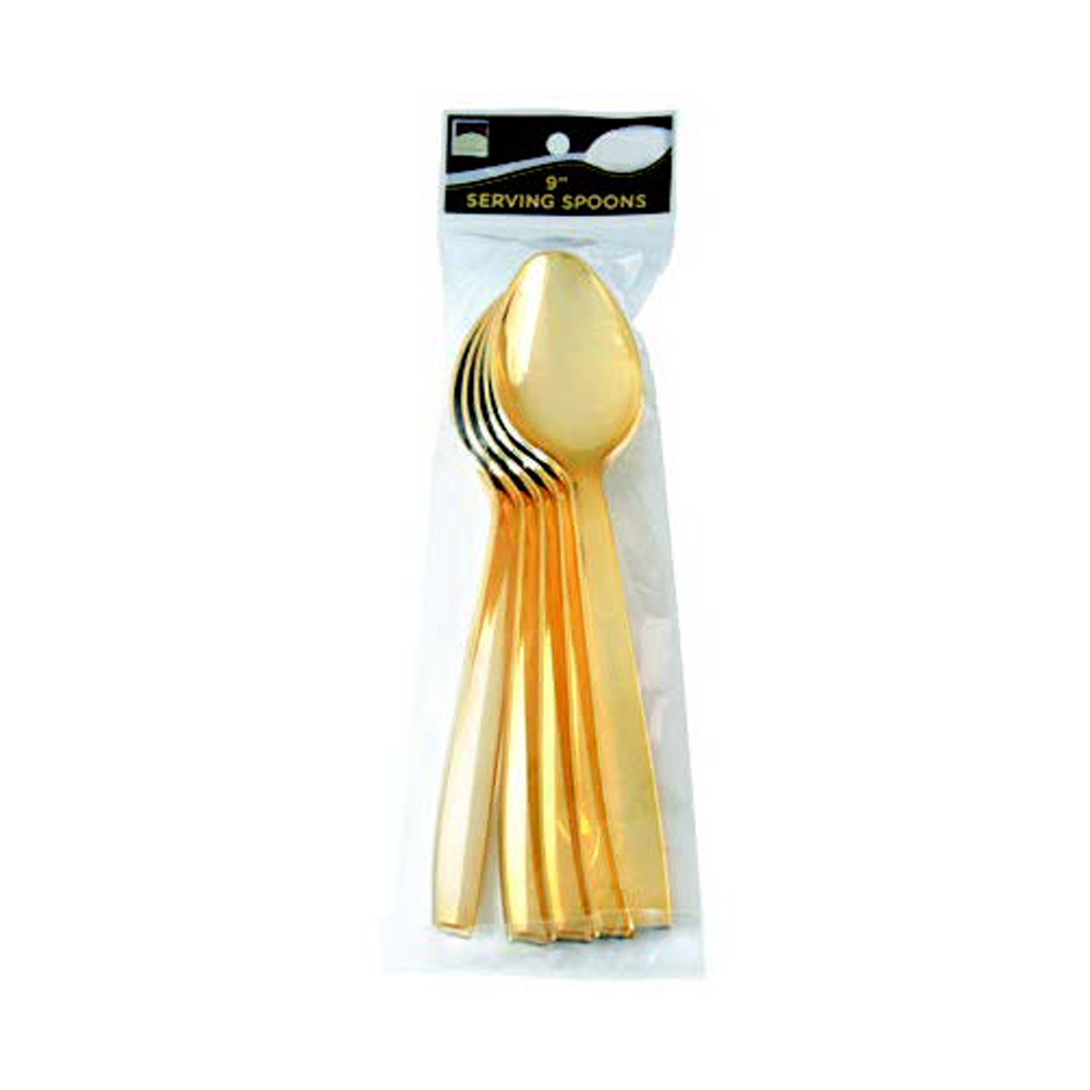 "Fineline Settings Gold 9"" Plastic Serving Spoon 5 Pack 768"