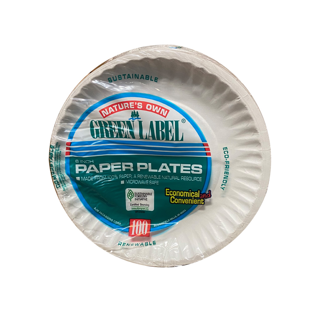 "AJM Packaging - Nature's Own White 6"" 100 Count   Green Label Uncoated Paper Plate PP6GREWH"