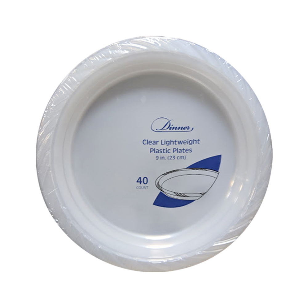 "Clear 9"" Round Plastic Plate 788"